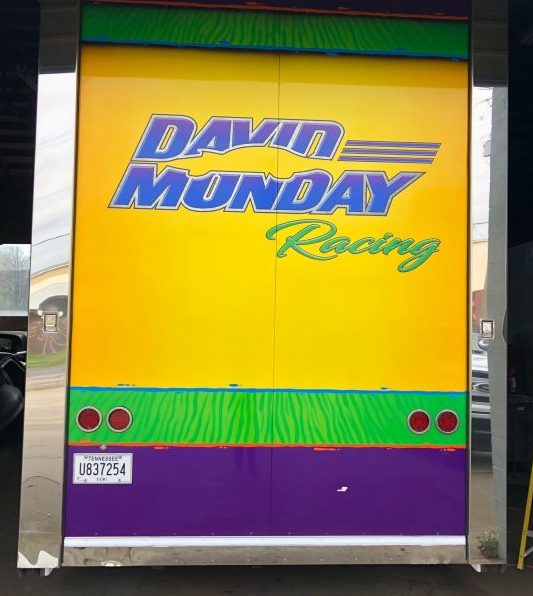 Full color vinyl graphics on sides & rear of race trailer